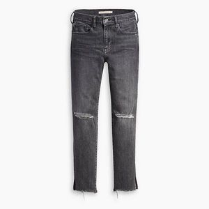 Levi's 724 High Rise Straight Crop Ripped Jeans